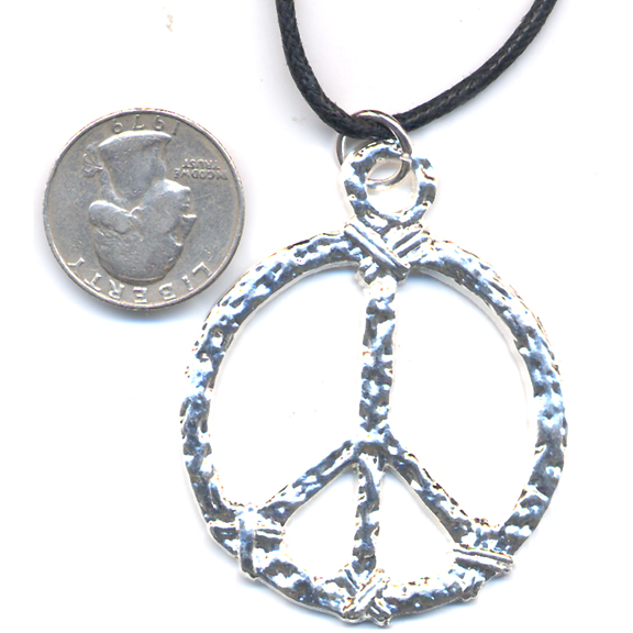 LEAD FREE PEACE SIGN ENGRAVED LOOK IN SILVER ON A CORD